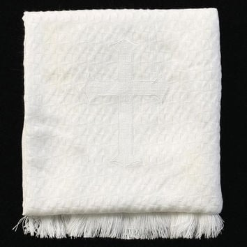 Christening Blanket with Embroidered Cross (textured) B-22
