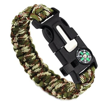 Outdoor Camping Survival Kits Paracord Rope 550 Parachute Wristband Emergency Rescue Bracelet Whistle Compass