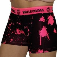 Volleyball Pink Splat Printed Flip Waist-Band Spandex Compression Shorts
