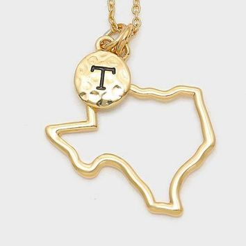 Texas State Map Gold-Plated Pendant Necklace