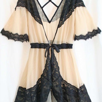 Chelsea Cross-back Sheer Robe -- Ballet/Black 💞 LAST CHANCE 💞