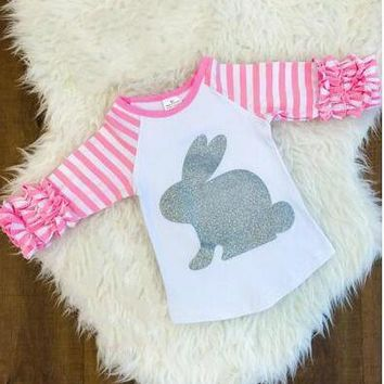 Girls Easter Glitter Bunny Raglan Shirt