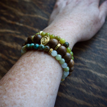 Yoga bracelet set of three stack | Boho bracelet stack Jade Turquoise | Green gold yoga jewelry | Tribal bracelets | Meditation mantra beads