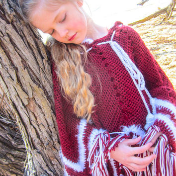 Hooded Fringe Poncho - Size 6-10 year old - Soft Crochet Wrap Shawl - Made to Order