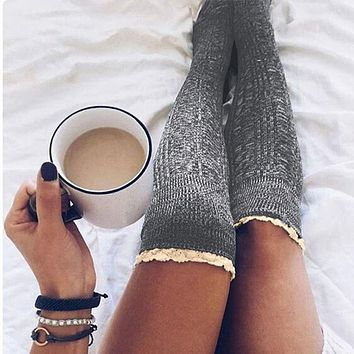 2017 Women Lace Splicing Knitted Long Socks Dark Gray Light Grey Burgundy White 4 Color Patchwork Casual Cute Sweet Socks