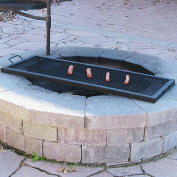 "36"" Rectangle Fire Pit Cooking Grill"