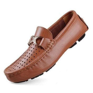 Brand Hot Sale Big Size Genuine Leather Men Loafers, High Quality Slip On Men Leather