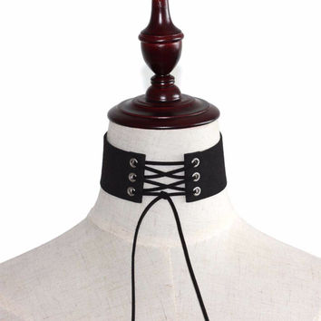 LACE UP PUNK GOTHIC CHOKER