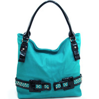 Women's Large Fashion Hobo w/ Rhinestone Studded Belt Accent - Turquoise Color: Turquoise