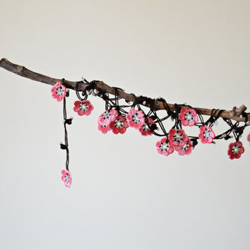 Sakura Flowers Cherry Blossom Oya Wrap Necklace Jewelry Beaded Lariat Jewellery, Beadwork, Crochet ReddApple, Christmas Gift Ideas for Her