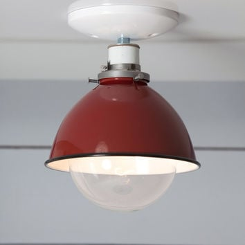 Red Metal Shade Light - Semi Flush Mount Lamp