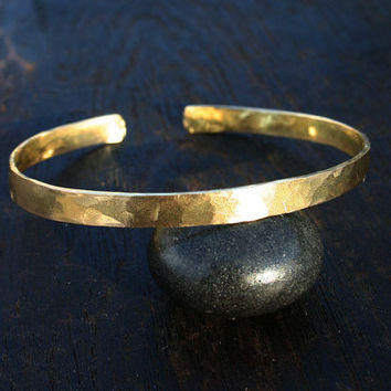 Solid gold cuff. 18k gold cuff bangle bracelet. Hammered gold bracelet. Rustic, organic hammered 18k yellow gold jewelry. Wide thick cuff.