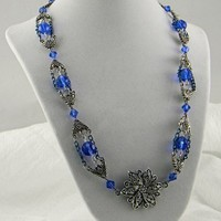 Filigree Pewter Dalia Handmade Cobalt Glass Bead Chain and Earring Set