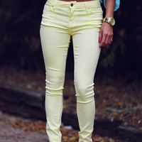 RESTOCK: A Little Something Sweet Jeans: Yellow | Hope's