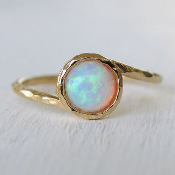 opal ring, white opal ring, gold ring, gold thin ring, gemstone ring, stacking ring, cocktail ring, bridesmaid gift, mother's day