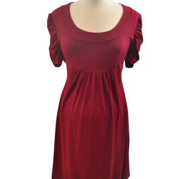 Burgundy Short Sleeve Dress by Duo Maternity