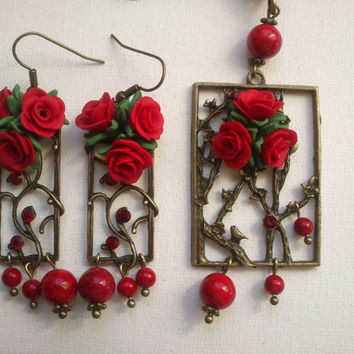 Red jewelry - Red roses - Polymer clay jewelry - MADE TO ORDER
