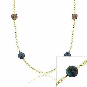 18K Gold over Sterling Silver Freshwater Cultured Green & Black Coin Pearl Chain Necklace, 30 inch