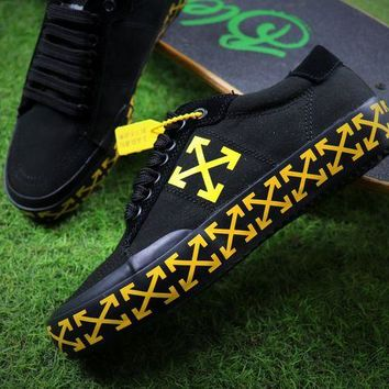 LMFON Best Online Sale Off White Vulcanised Arrows Sneakers Black/Yellow Canvas Shoes