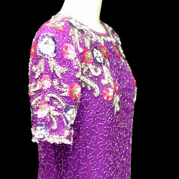 Vintage 80s Purple Sequin Beaded Silk Evening Dress - Size XL Keyhole Back Gatsby Style