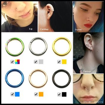 1PC G23 Titanium Hinged Segment Nose Septum Clicker Ring Ear Cartilage Piercing Lip Rings Body Jewelry For Sexy Girls 16g&14g