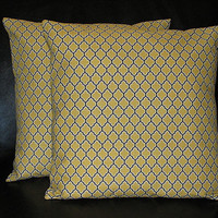 """Decorative Pillows set of Two 20 inch Pillow Covers 20"""" grey & yellow Joel Dewberry LATTICE Aviary 2"""