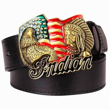 Men's leather belt metal buckle American flag retro big head Indian chief western style belt hip hop Street Dance belt
