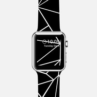 Abstract Outline White on Black Watch Apple Watch case by Project M | Casetify