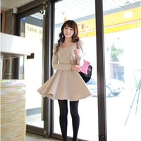 Wholesale Quality Puff Sleeve Apricot Dresses : Wholesaleclothing4u.com
