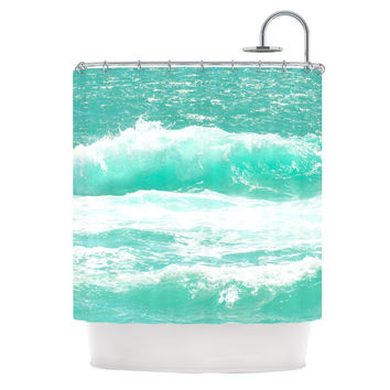 "Monika Strigel ""Maui Waves"" Teal Green Shower Curtain"