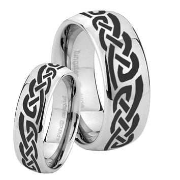 His and Hers Celtic Knot Infinity Love Mirror Dome Tungsten Mens Ring Personalized Set