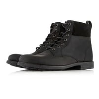 Black Leather Cuff Boots - Boots - Shoes and Accessories - TOPMAN USA