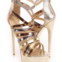Gold Metallic Strappy Heels Faux Leather