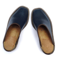 Vtg soviet slip ons Women slippers Blue mules  Moccasins Summer street shoes Casual ladies flats