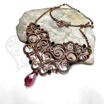Elegant pendant / with chain / Bib necklace / Statement necklace / Handmade wire wrapped jewelry / Red & black