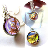Terrarium Necklace Botanical Jewelry Woodland Fairy Mirrored Dichroic Glass Background Real Moss Necklace Miniature Terrarium Jewelry