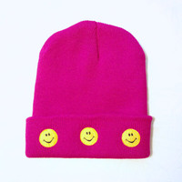 Smiley Face Beanie - Pink or Black