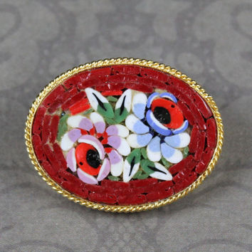 Vintage Italian Micro Mosaic Red Floral Oval Brooch