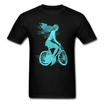 Mermaid Biker Tshirt Print Mens T Shirt Casual Tops Tees 2018 Discount T-shirt Black Blue Short Sleeve 100% Cotton Clothes