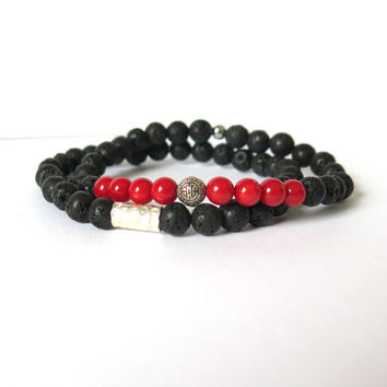 Casual Black Lava Stone Beaded Bracelet with Karen Hill Tribe Silver - Unisex