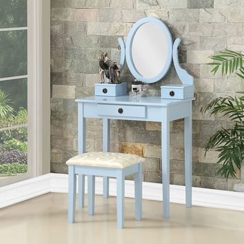 Blue Wood Vanity Table Oval Mirror and Drawers With Padded Stool