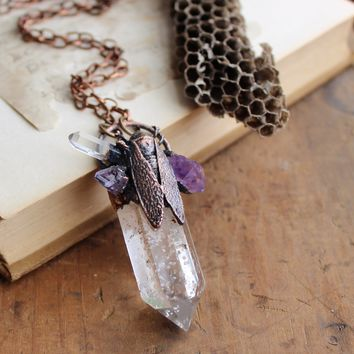 Etta - Clear Quartz & Amethyst Bug Electroformed Copper Necklace