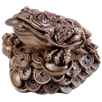 Chinese Stone Resin Gold Money Frog Statue