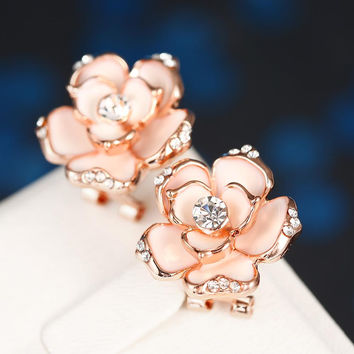 18K White Gold Floral Coral Stud Earrings Made with Swarovksi Elements
