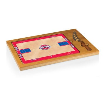 Detroit Pistons - 'Icon' Glass Top Serving Tray & Knife Set by Picnic Time (Basketball Design)