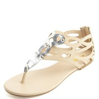 Silver-Embellished Laser Cut-Out Thong Sandals
