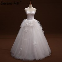 White Strapless Simple Lace Wedding Dress Ruffles Sexy Sleeveless Bridal Gown