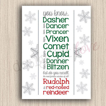 Reindeer Names - Printable File - Christmas Decor