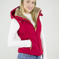 Friendly Fur Neck-Lined Hooded Puffer Vest