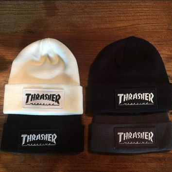 2016 Fashion Thrasher Winter Hats Top Quality Cotton Hip Hop Bonnet Knitted Caps Warm Cap Hat Female Skullies Beanies